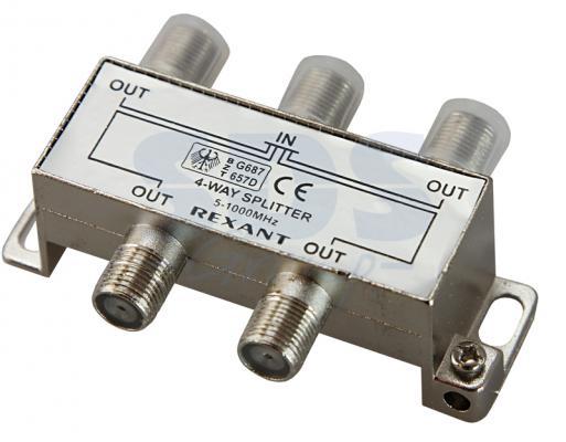 ДЕЛИТЕЛЬ ТВ х 4 под F разъём 5-1000 МГц REXANT разъём bnc под f