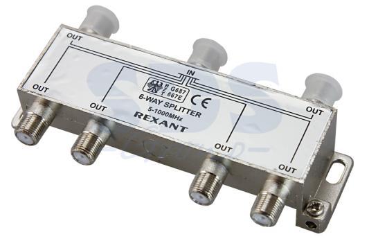 ДЕЛИТЕЛЬ ТВ х 6 под F разъём 5-1000 МГц REXANT разъём bnc под f
