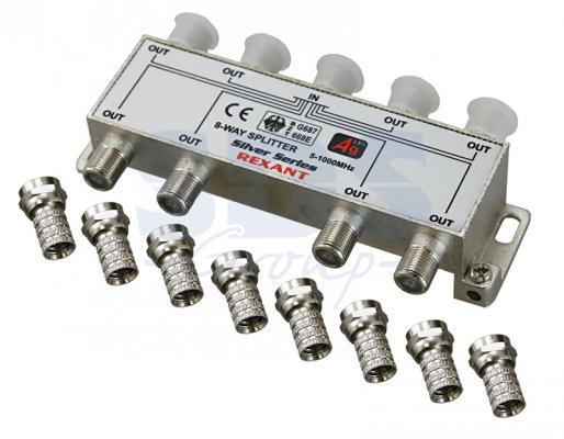 ДЕЛИТЕЛЬ ТВ х 8 + 9шт. F BOX 5-1000 МГц Silver REXANT moyo box oнлайн тв плеер
