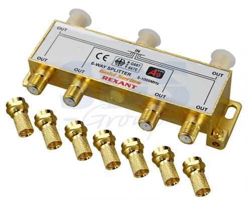 ДЕЛИТЕЛЬ ТВ х 6 + 7шт. F BOX 5-1000 МГц GOLD REXANT 05-6104-1 moyo box oнлайн тв плеер