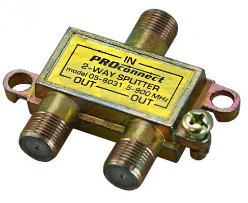 ДЕЛИТЕЛЬ ТВ х 2 под F разъём 5-900 МГц PROCONNECT Индивидуальная упаковка 1 шт разъём bnc под f