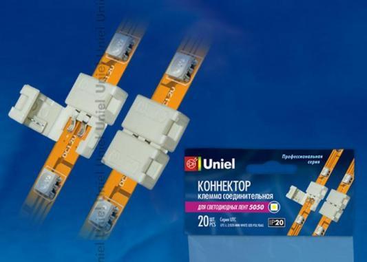 Коннектор для светодиодных лент 5050 (06606) Uniel UTC-L-2/B20-NNN White 020 соединитель l образный для светодиодных лент 3528 uniel 10821 utc k 22 a67 nnn clear 005 polybag