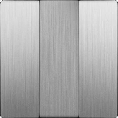 Лицевая панель выключателя трехклавишного cеребряный рифленый WL09-SW-3G-CP 4690389100345