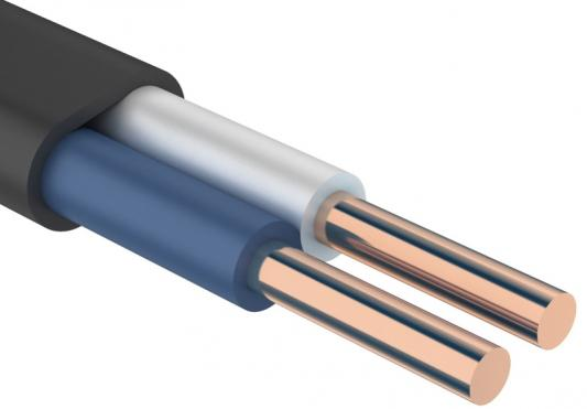 Кабель силовой ВВГ-Пнг (А) Калужский кабельный завод 2x2.5 мм плоский 100м черный ГОСТ