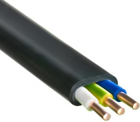 Кабель силовой ВВГ-Пнг (А) Калужский кабельный завод 3x2.5 мм плоский 100м черный ГОСТ