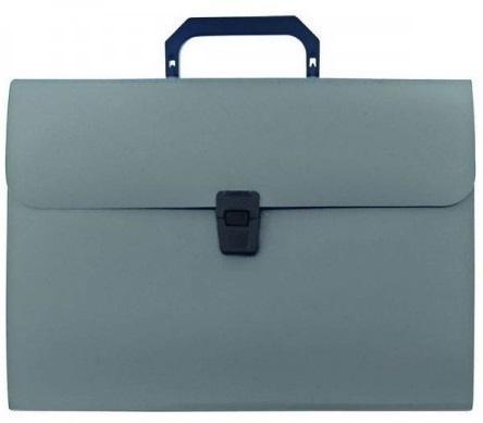 Папка - портфель с ручкой на 13 отделений, с окантовкой, ф.А4, серая