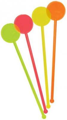 Палочки пластмассовые КРУГ для коктейля, 18 см, 12 шт. в пакете, 6 цв. елка декоративная трехцветная украшенная 50 см 3 цв в асс пвх в пакете