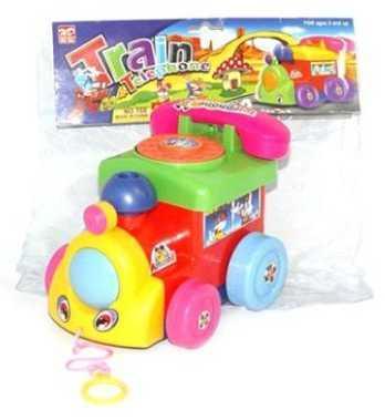 Каталка Наша Игрушка Паровозик с телефоном разноцветный от 1 года пластик 100959118 цена