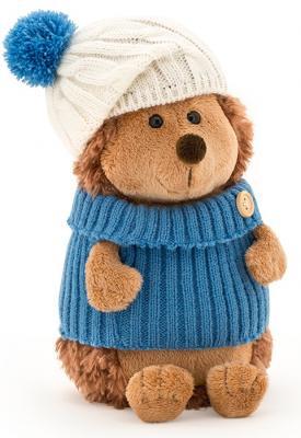 Мягкая игрушка ежик ORANGE Ёжик Колюнчик в шапке с голубым помпоном искусственный мех пластмасса наполнитель 15 см orange 7654 15 мягкая игрушка щенок рекс 15 см