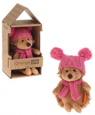 Мягкая игрушка ежик ORANGE Ежинка Колючка в шапке с двумя помпонами искусственный мех пластмасса наполнитель 15 см orange 7654 15 мягкая игрушка щенок рекс 15 см