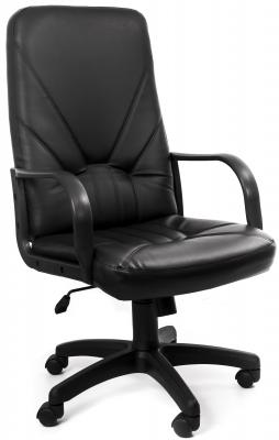 Кресло Recardo Leader (Чёрный, ЭКО КОЖА, 120кг, высота спинки 650мм, ВШГ 1070-1165*525*500мм, крест. пластик 640мм, подлокоткии пластик) DF PLNV4