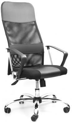 Кресло Recardo Smart (Серый, сетка/кожа, высота 1180-1270мм, спинка 740мм, Ш500*Г490, крест 700мм, макс. 120кг, газлифт/качание/откидывание) цена