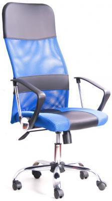 Кресло Recardo Smart (Синий, сетка/кожа, высота 1180-1270мм, спинка 740мм, Ш500*Г490, крест 700мм, макс. 120кг, газлифт/качание/откидывание) цена