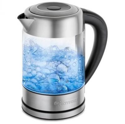 Картинка для Чайник KITFORT КТ-624 2200 Вт серебристый 1.7 л металл/стекло