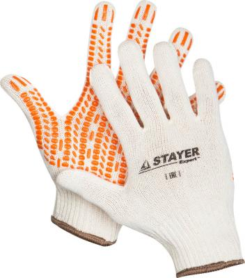 Перчатки STAYER EXPERT трикотажные с защитой от скольжения, 10 класс, х/б, S-M [11401-S] перчатки латексные русский инструмент 67724 х б 13 класс