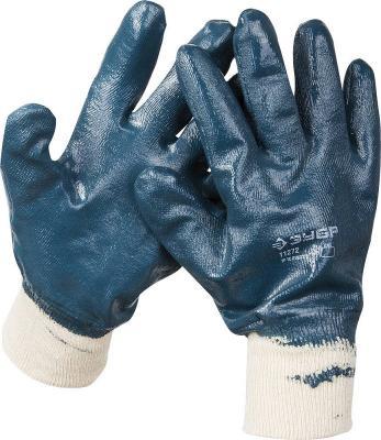 Перчатки ЗУБР МАСТЕР рабочие с манжетой, с полным нитриловым покрытием, размер L (9) [11272-L] цена