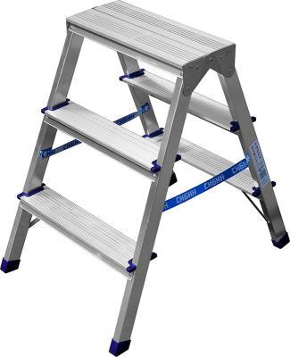 Лестница-стремянка двухсторонняя алюминиевая, СИБИН 38825-03, 3 ступени [38825-03] лестница стремянка fit алюминиевая 4 ступени 65342
