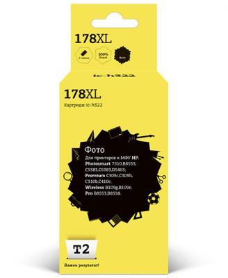 Картридж T2 IC-H322 №178XL (аналог CB322HE) для HP Photosmart 7510/B8553/B8558/6383/C309, фото, с чипом чернильный картридж hp 178xl cb322he black