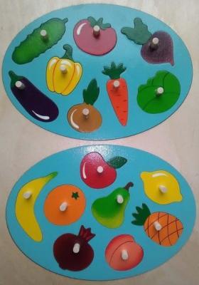 Мозаика-вкладыш Фрукты-овощи, 16 деталей развивающая игрушка крона мозаика вкладыш африка 22 элемента 143 016