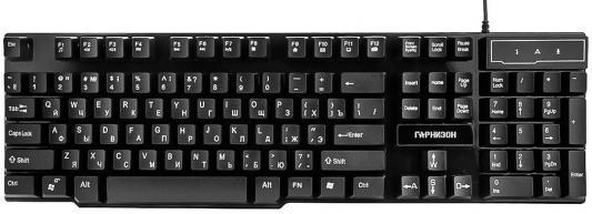 Клавиатура проводная Гарнизон GK-200G USB черный шина и 111ам
