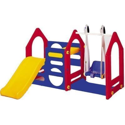 Купить Игровой комплекс Haenim Toy Дом с горкой и качели DS-702А, разноцветный, Детские домики - палатки