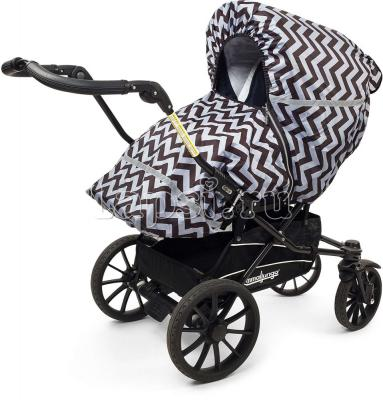 Дождевик для прогулочной коляски Tullsa Chevron black/grey 83713(Chevron black/grey 83713 серый)
