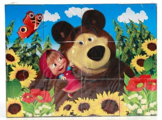 Набор кубиков ИГРАЕМ ВМЕСТЕ Маша и Медведь от 3 лет 12 шт играем вместе кубики winx 6 кубиков деревянные играем вместе
