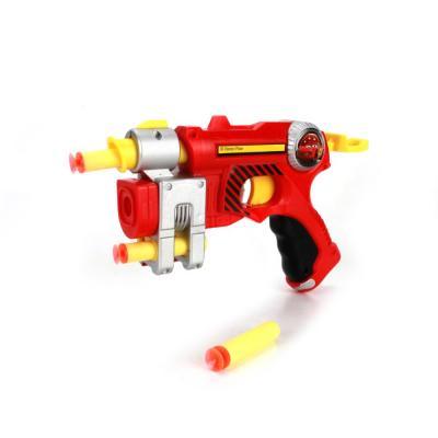 Купить Бластер Играем вместе БЛАСТЕР ТАЧКИ, С МЯГКИМИ ПАТРОНАМИ красный желтый B1355382-R, красный, желтый, 19x27x6 см, для мальчика, Игрушечное оружие