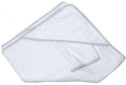 Купить Махровое полотенце с капюшоном (100*100 см), мочалка, белый, Italbaby, Хлопок, Для всех, Детские полотенца и халаты