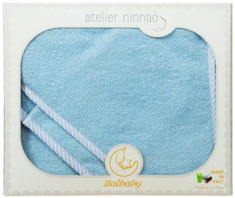 Купить Махровое полотенце с капюшоном (100*100 см), мочалка, голубой, Italbaby, Хлопок, Для всех, Детские полотенца и халаты
