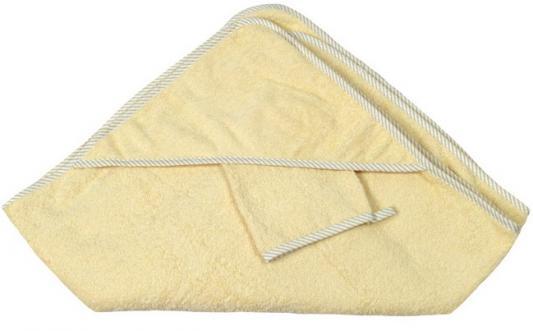 Купить Махровое полотенце с капюшоном (100*100 см), мочалка, крем, Italbaby, Хлопок, Для всех, Детские полотенца и халаты