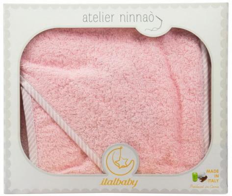 Купить Махровое полотенце с капюшоном (100*100 см), мочалка, розовый, Italbaby, Хлопок, Для всех, Детские полотенца и халаты