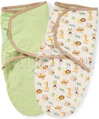 Конверт для пеленания на липучке размер S/M 2 шт Summer Infant SwaddleMe Organic (зеленый/яблоки)