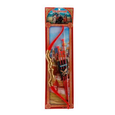 Лук Играем вместе ЛУК СО СТРЕЛАМИ НА ПРИСОСКАХ красный золотистый B289070-R3 игрушка пистолет спецагент со стрелами на присосках