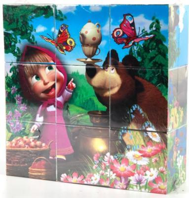 Набор кубиков ИГРАЕМ ВМЕСТЕ Маша и Медведь от 3 лет 9 шт играем вместе кубики winx 6 кубиков деревянные играем вместе