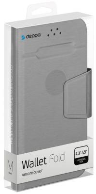 все цены на Чехол Deppa -подставка для смартфонов Wallet Fold M 4.3''-5.5'', серый