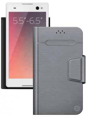 Чехол Deppa Чехол-подставка для смартфонов Wallet Fold L 5.5''-6.5'', серый, Deppa fl 039 cu helios