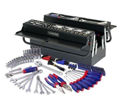 Набор инструментов WORKPRO W009038 в раздвижном металлическом ящике 183предмета ключ workpro w071010