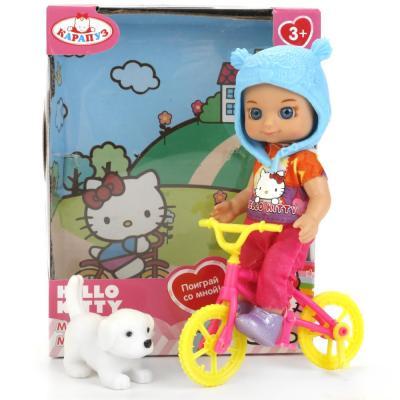 Кукла КАРАПУЗ Hello Kitty с велосипедом 12 см YL1701H-RU-HK (60), пластик, текстиль, Куклы Карапуз  - купить со скидкой