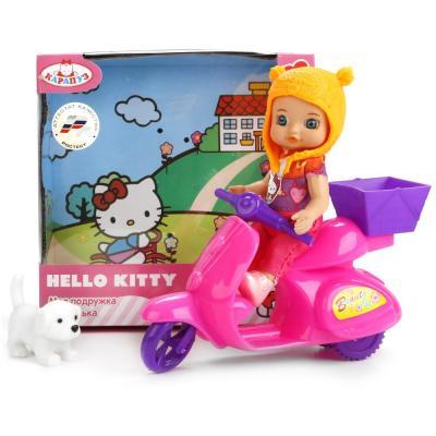 Купить Кукла КАРАПУЗ Hello Kitty с мопедом 12 см YL1701M-RU-HK (40), пластик, текстиль, Куклы Карапуз