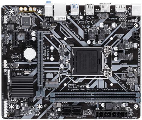 Материнская плата GigaByte H310M A Socket 1151 v2 H310 2xDDR4 1xPCI-E 16x 2xPCI-E 1x 4 mATX Retail материнская плата gigabyte ga h81m s1 v2 2 socket 1150 h81 2xddr3 1xpci e 16x 2xpci e 1x 2xsata ii 2xsataiii matx retail