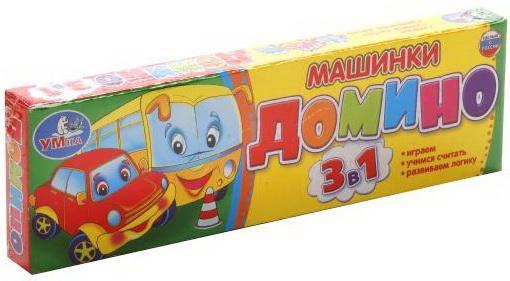 Настольная игра УМКА домино Машинки, 3-в-1, настольная игра домино стеллар хорошие знакомые 9