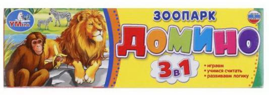 Настольная игра УМКА домино Зоопарк развивающая игра rico домино зоопарк