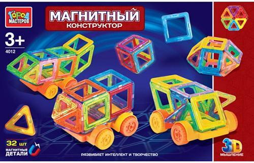 Купить Магнитный конструктор Город мастеров XB-4012-R 32 элемента, Пластмассовые конструкторы