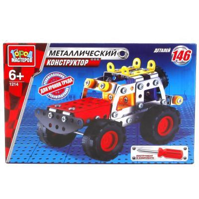 Купить Металлический конструктор Город мастеров Джип 146 элементов WW-1214-R, Пластмассовые конструкторы