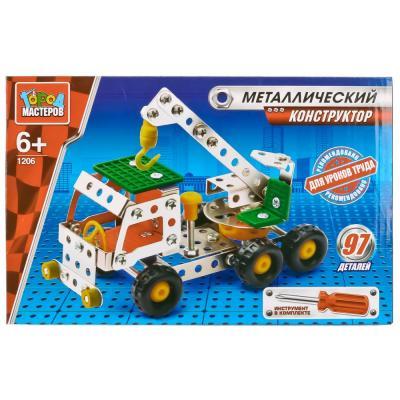 Металлический конструктор Город мастеров Кран 97 элементов VV-1206-R конструктор металлический грузовик и трактор 345 элементов