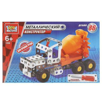 Металлический конструктор Город мастеров Бетономешалка 86 элементов VV-1208-R конструктор металлический грузовик и трактор 345 элементов