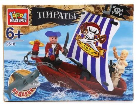 Конструктор Город мастеров Лодка с пиратом город мастеров набор конструкторов строительная техника