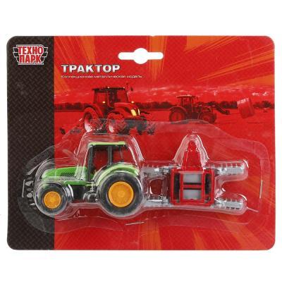 Купить Трактор Технопарк ТРАКТОР С ПРИЦЕПОМ зеленый 14.5 см 10219-R, ТЕХНОПАРК, Игрушечные машинки