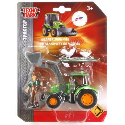 Купить Трактор Технопарк ТРАКТОР зеленый 13 см U1407B-1, ТЕХНОПАРК, Игрушечные машинки